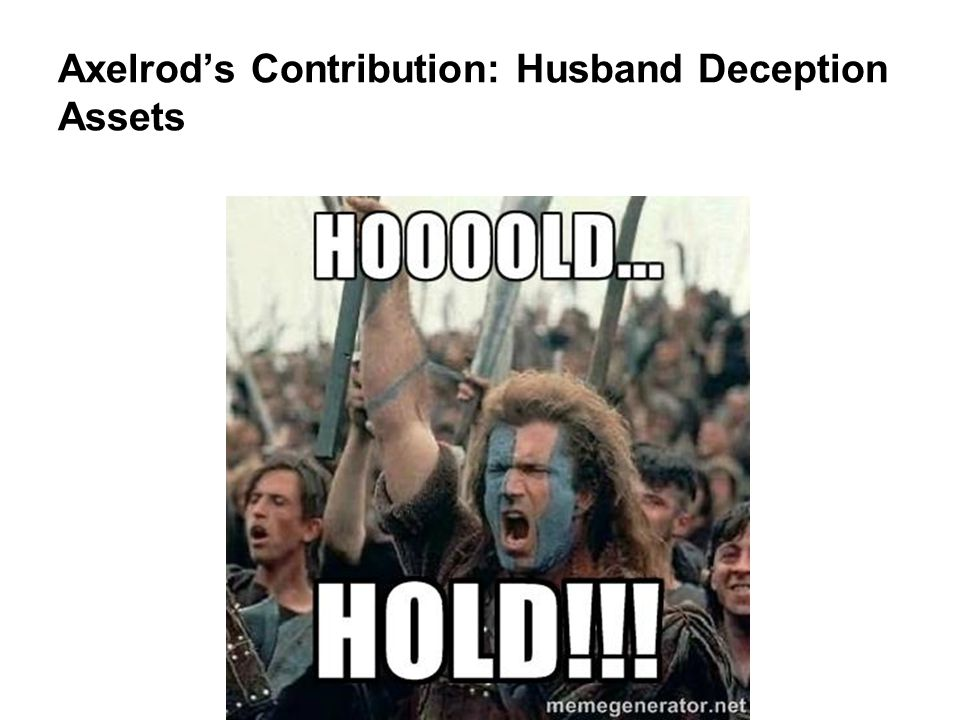 Axelrod's Contribution: Husband Deception Assets