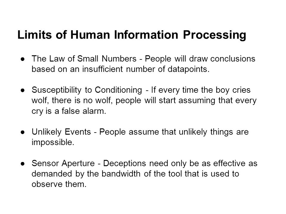 Limits of Human Information Processing