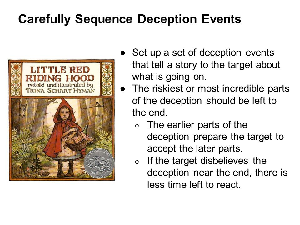 Carefully Sequence Deception Events