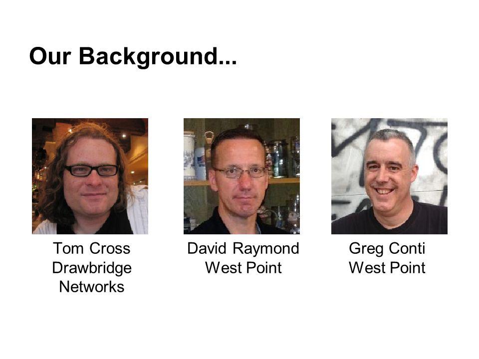 Our Background... Tom Cross Drawbridge Networks David Raymond