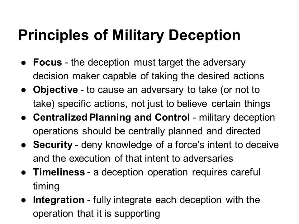 Principles of Military Deception