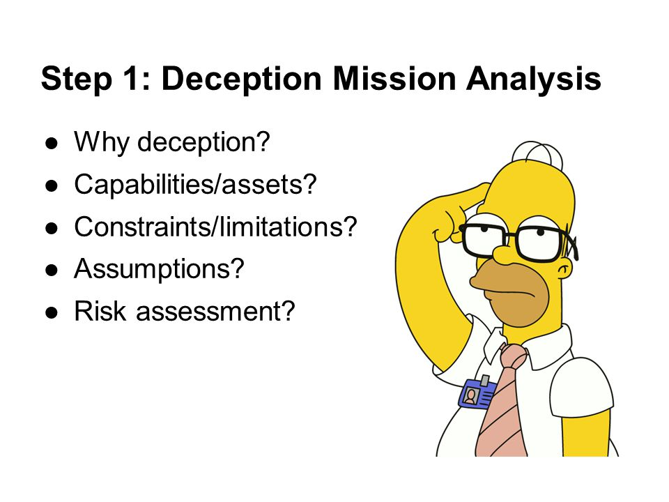 Step 1: Deception Mission Analysis