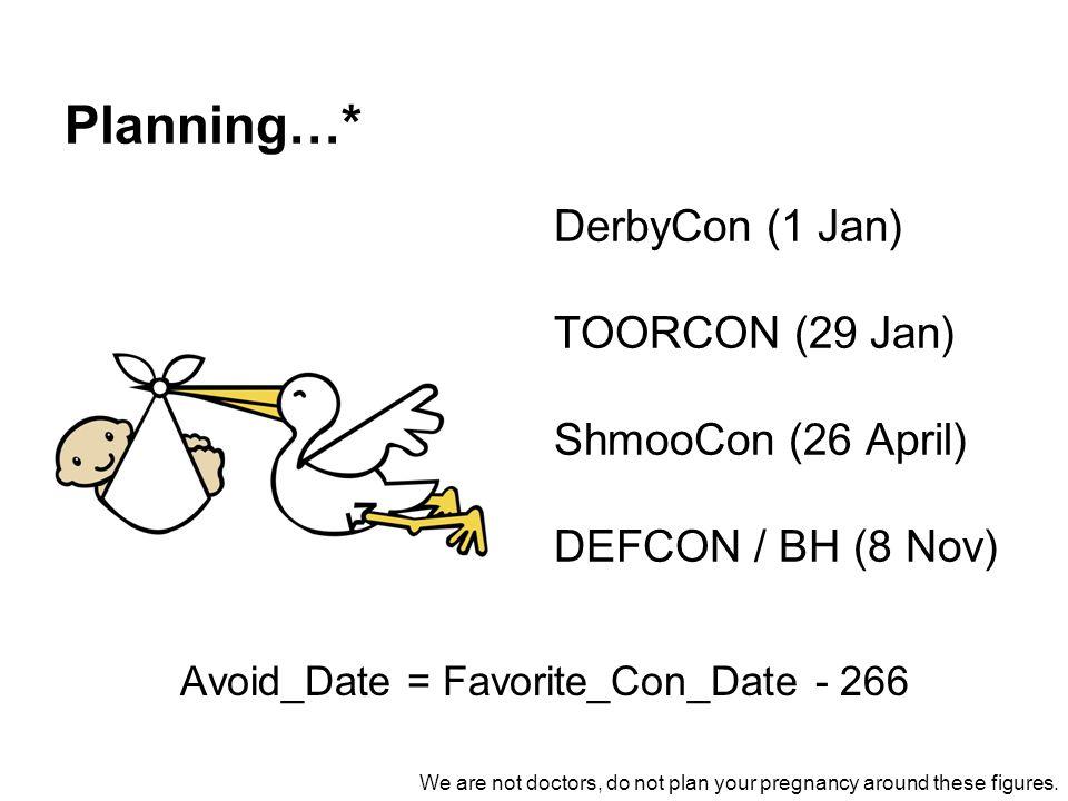 Planning…* DerbyCon (1 Jan) TOORCON (29 Jan) ShmooCon (26 April)