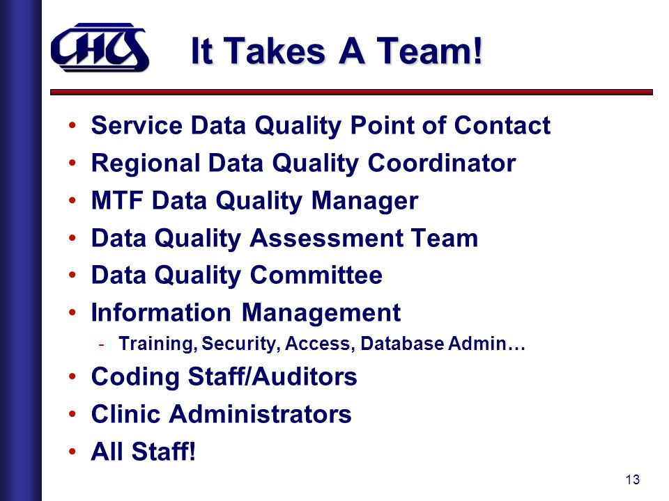 It Takes A Team! Service Data Quality Point of Contact