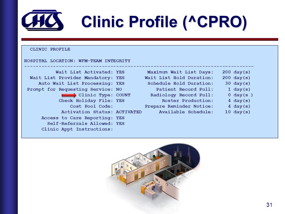 Clinic Profile (^CPRO)