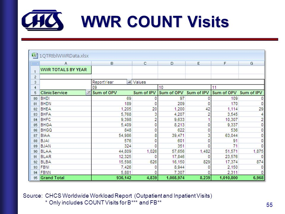 WWR COUNT Visits Source: CHCS Worldwide Workload Report (Outpatient and Inpatient Visits) * Only includes COUNT Visits for B*** and FB**