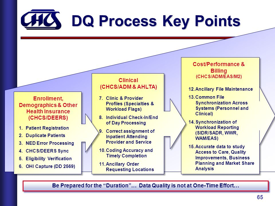 DQ Process Key Points Cost/Performance & Billing Clinical
