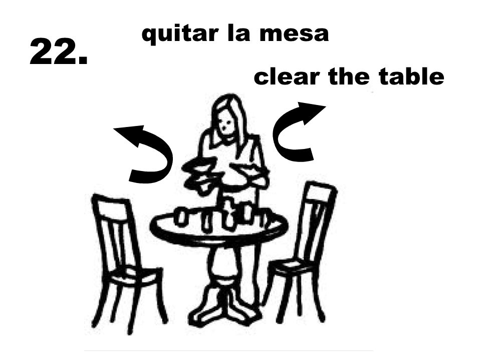 quitar la mesa 22. clear the table