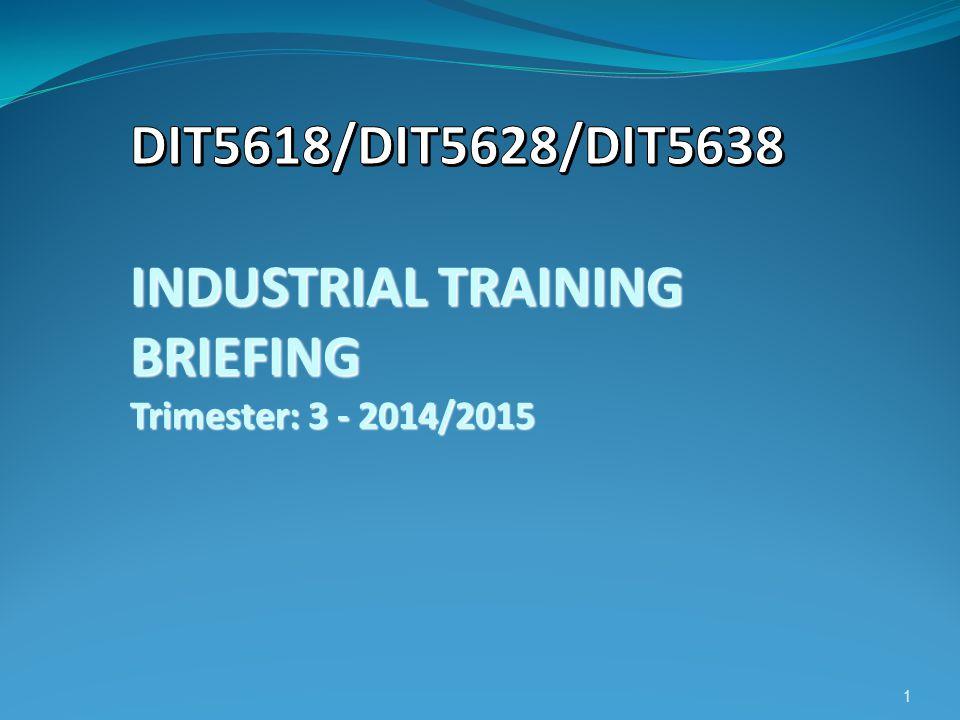 DIT5618/DIT5628/DIT5638 INDUSTRIAL TRAINING BRIEFING