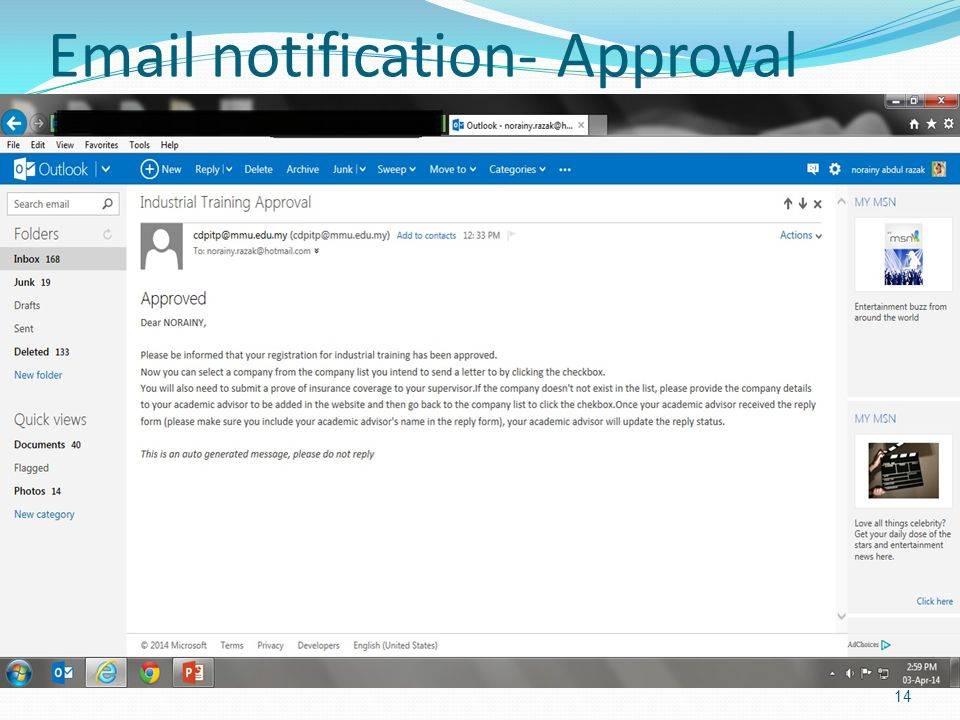 Email notification- Approval