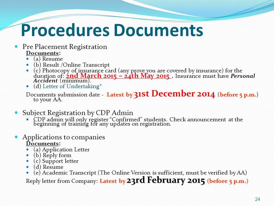 Procedures Documents Pre Placement Registration