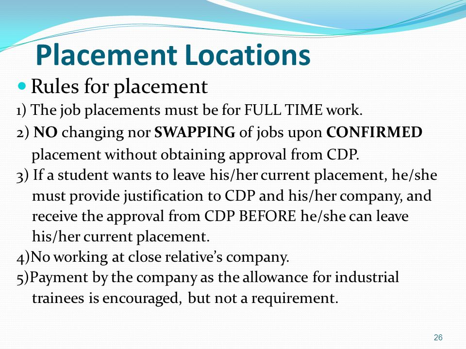 Placement Locations Rules for placement