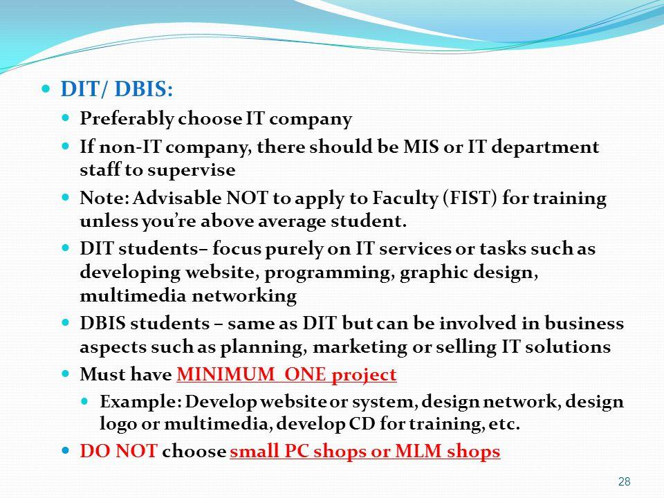 DIT/ DBIS: Preferably choose IT company