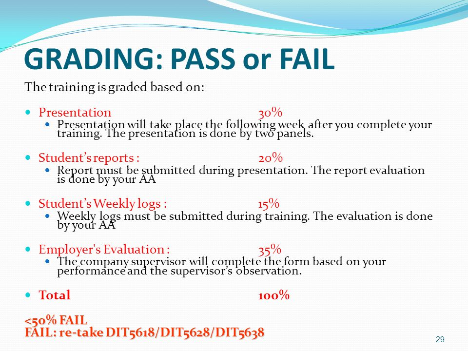 GRADING: PASS or FAIL The training is graded based on: