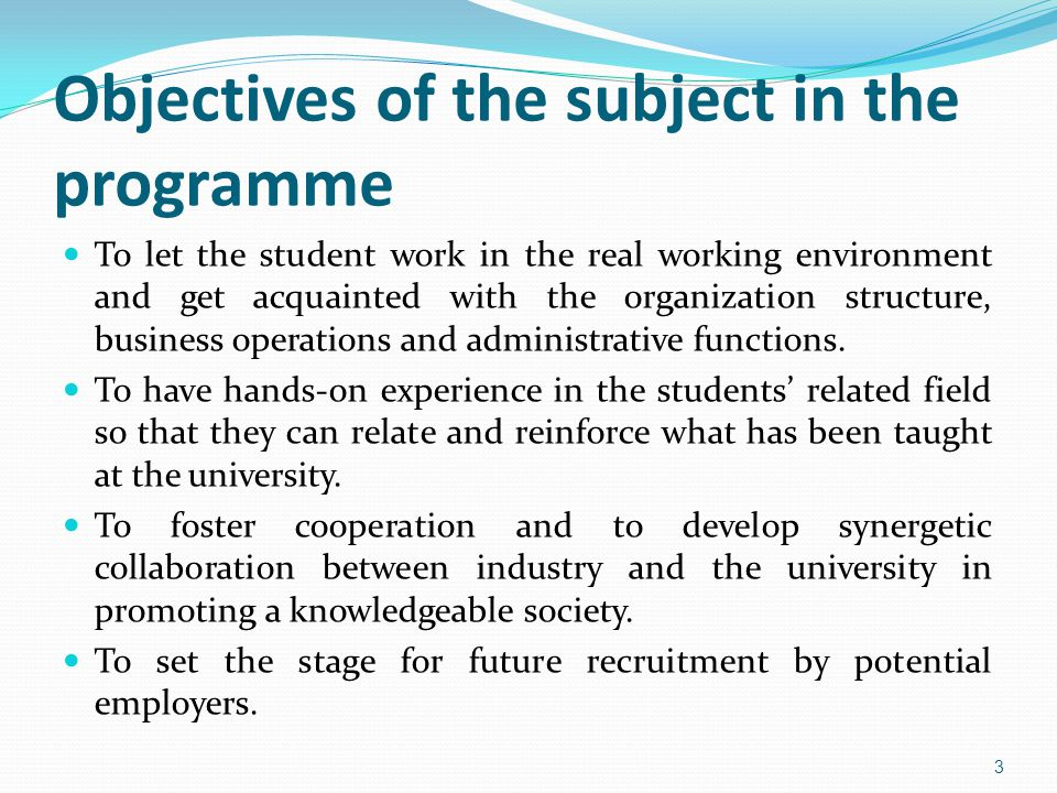 Objectives of the subject in the programme