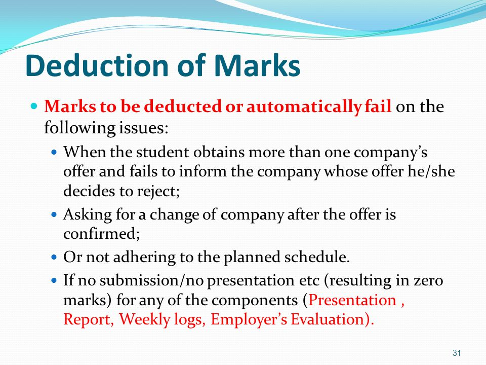 Deduction of Marks Marks to be deducted or automatically fail on the following issues: