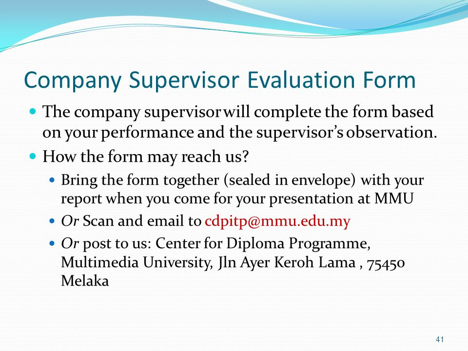 Company Supervisor Evaluation Form