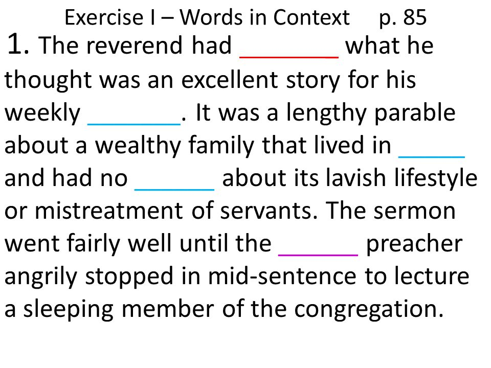 Exercise I – Words in Context p. 85