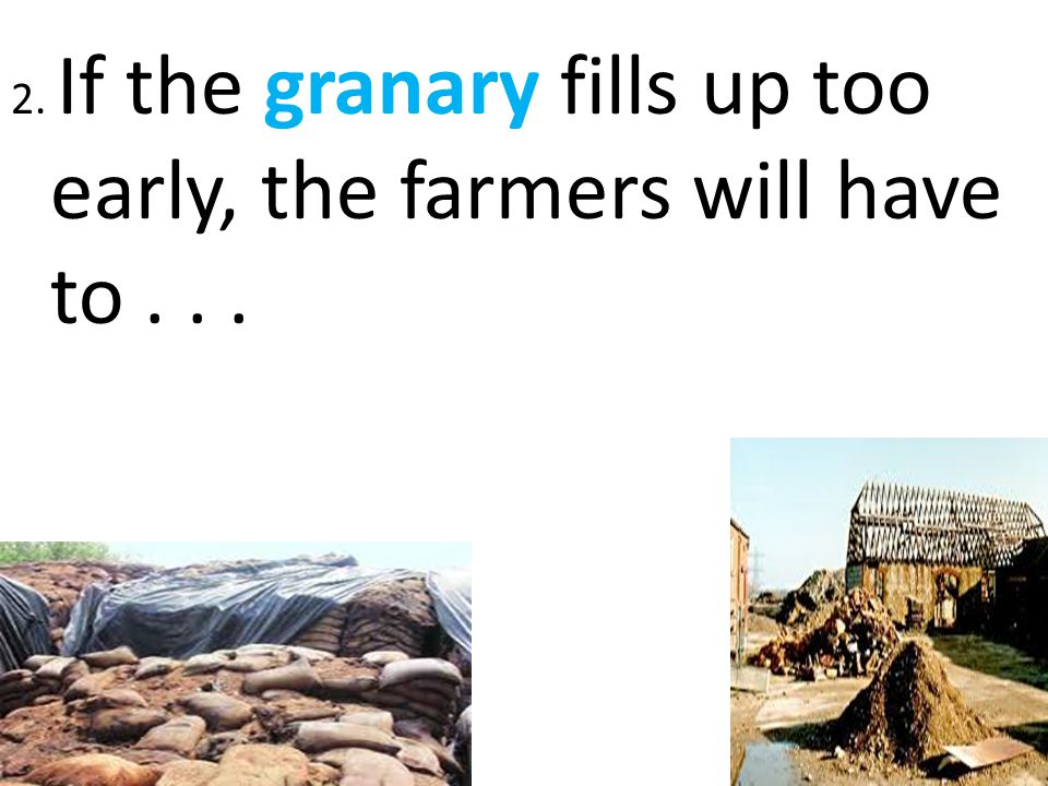 2. If the granary fills up too early, the farmers will have to . . .