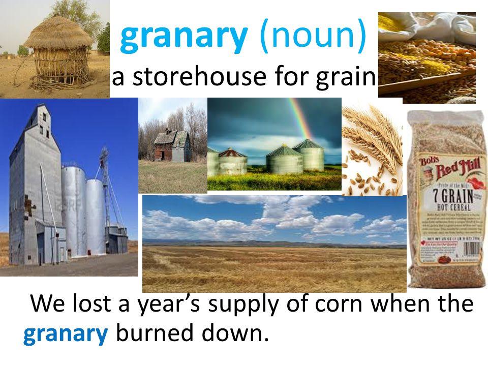 granary (noun) a storehouse for grain