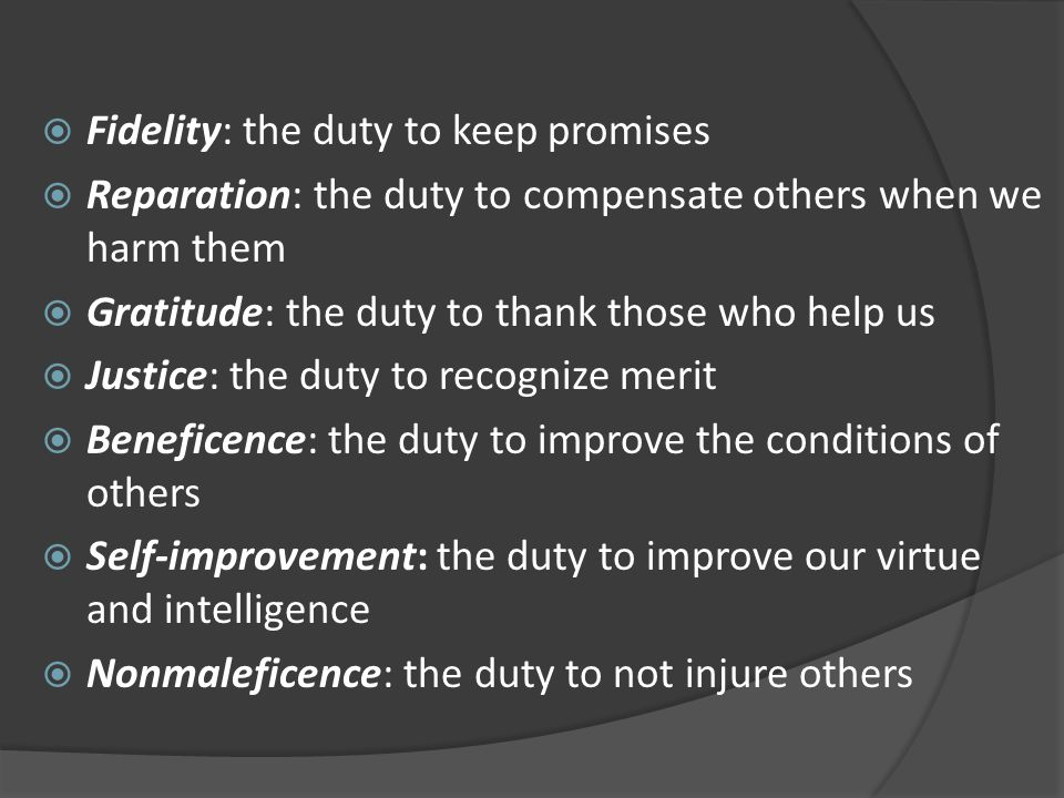 Fidelity: the duty to keep promises