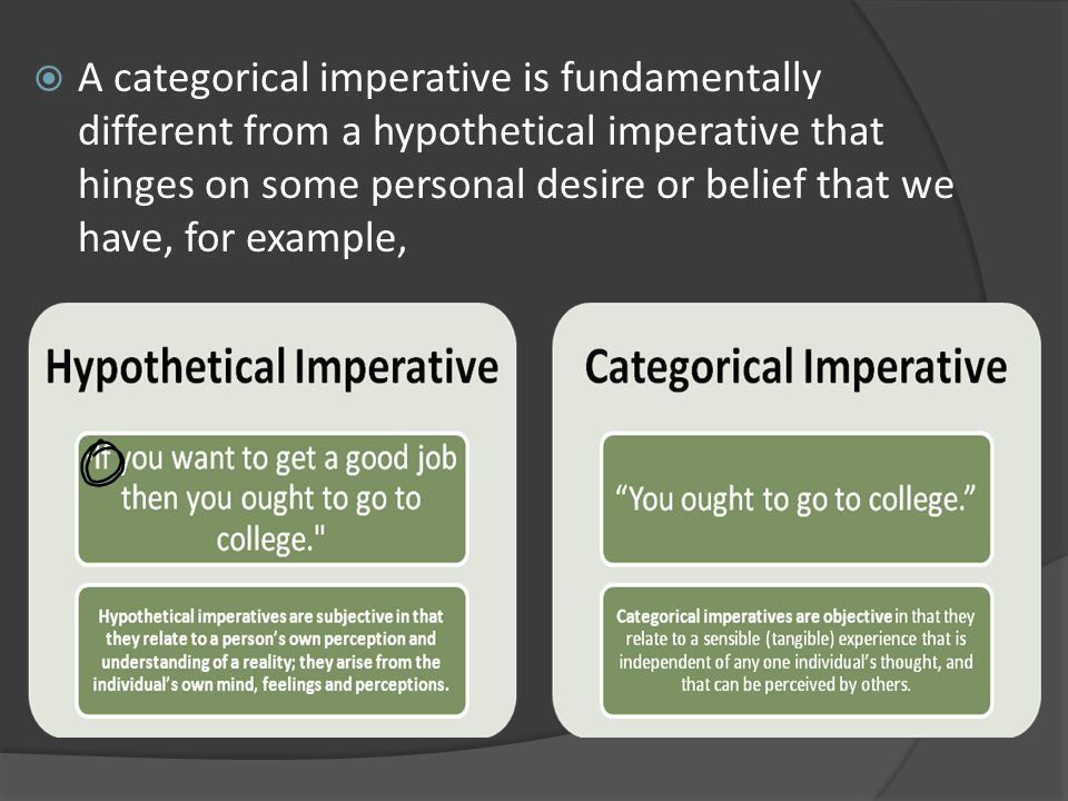 hypothetical critical against categorical