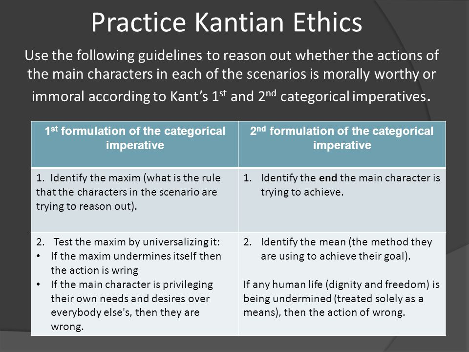 explain kants categorical imperative Kant calls his supreme principle the categorical imperative its various versions  also  since the scheme requires that he or she doesn't know what is going on.