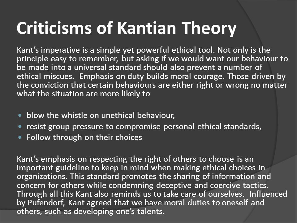 Criticisms of Kantian Theory