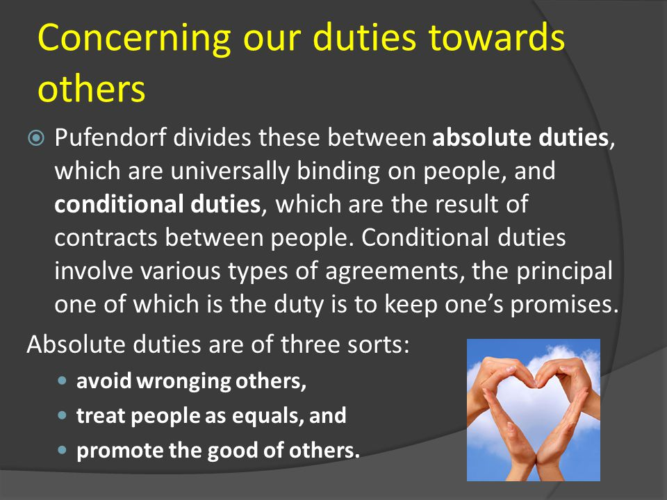 Concerning our duties towards others