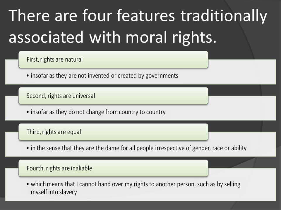 There are four features traditionally associated with moral rights.