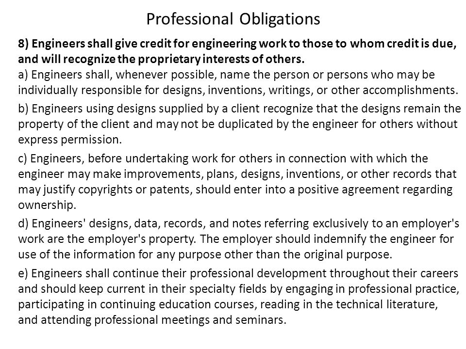 Professional Obligations