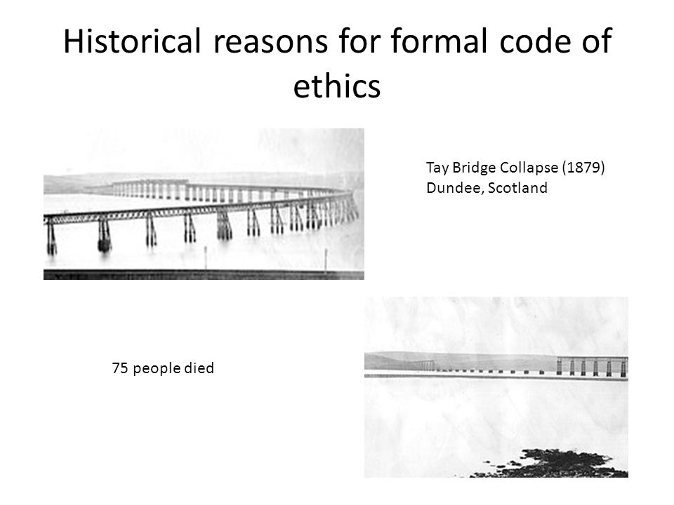 Historical reasons for formal code of ethics