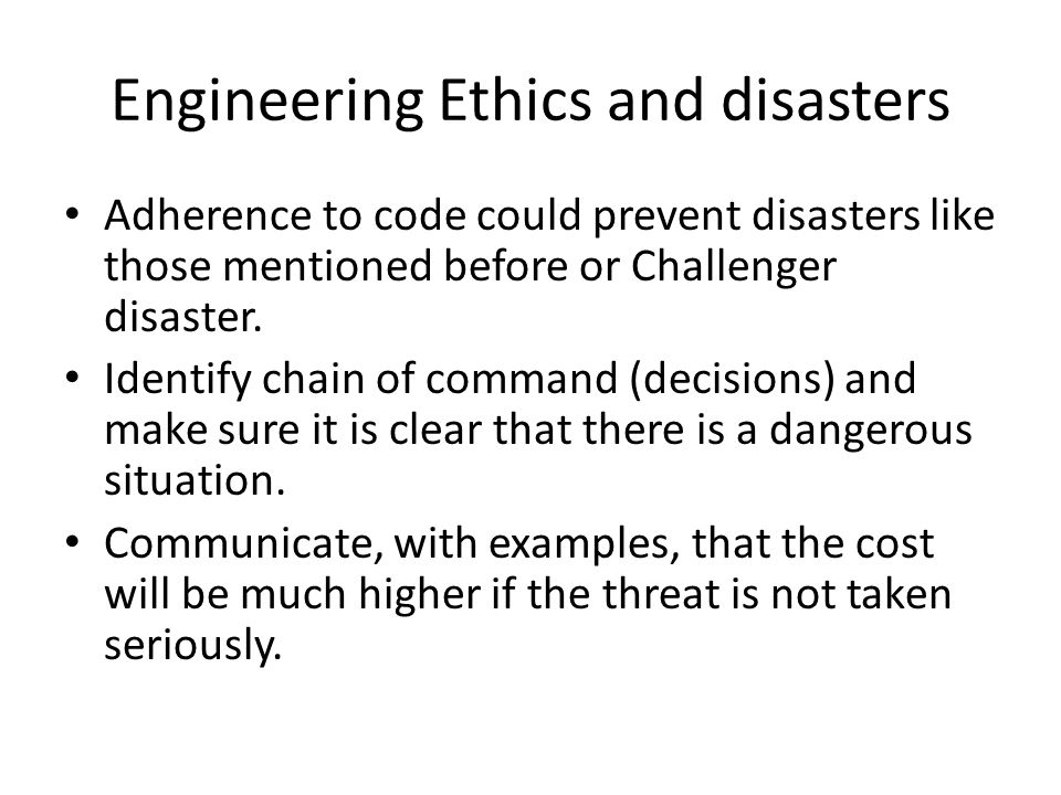 Engineering Ethics and disasters