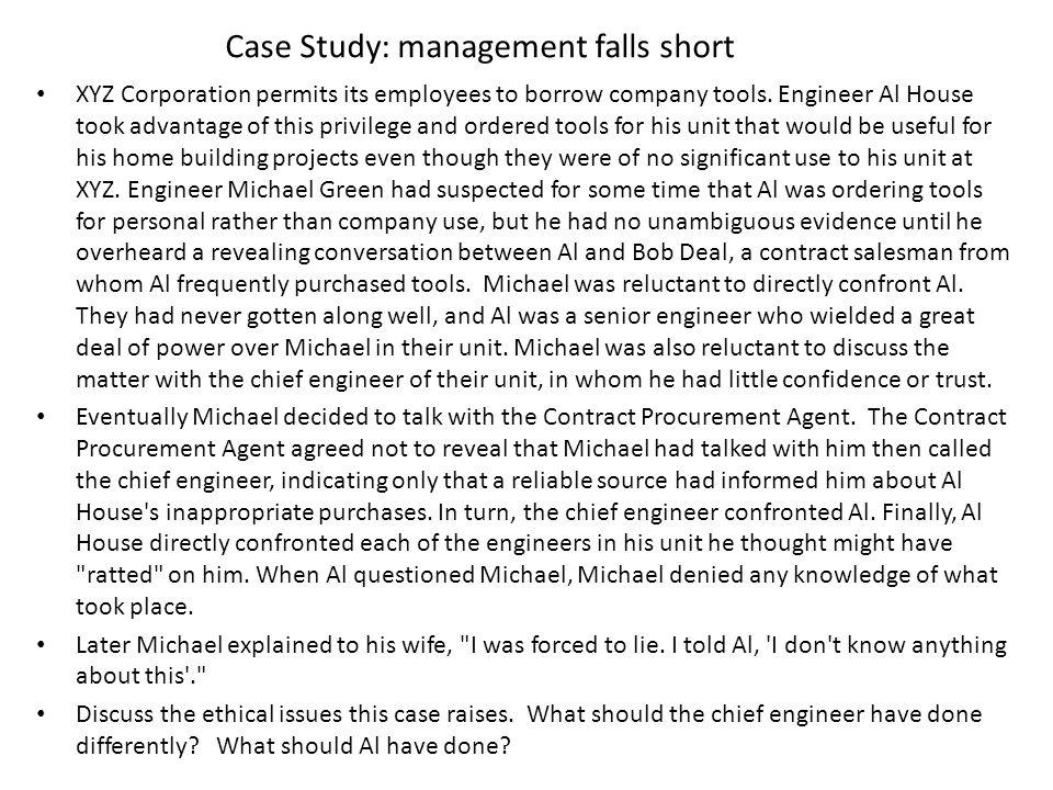 Case Study: management falls short