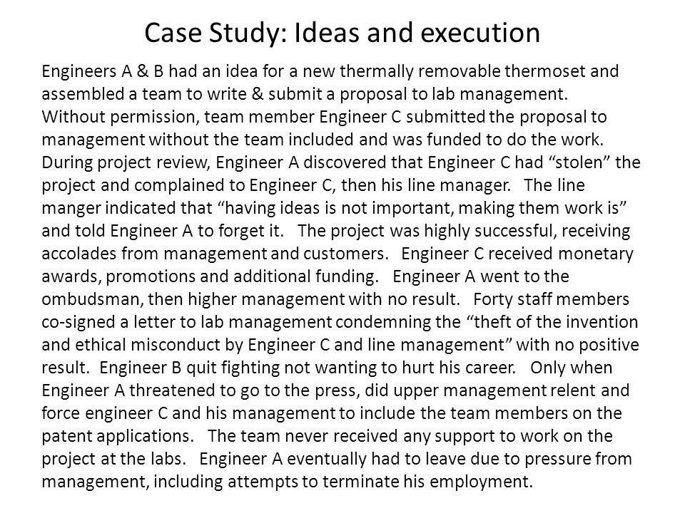 Case Study: Ideas and execution