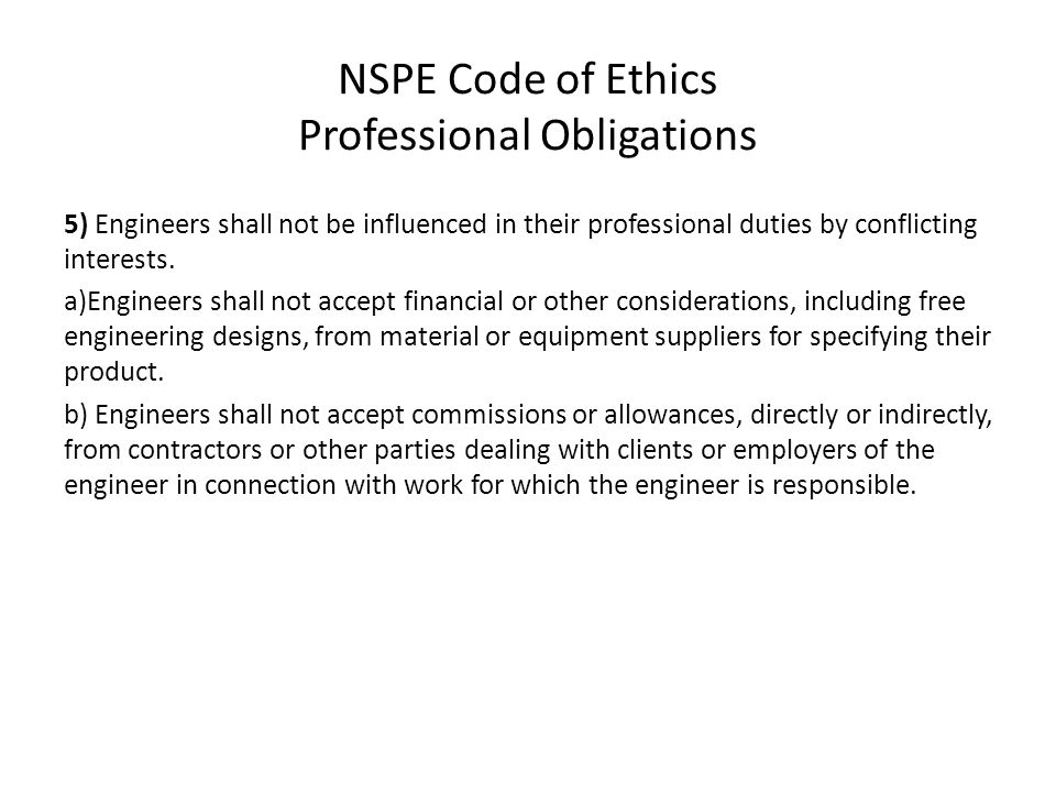 NSPE Code of Ethics Professional Obligations