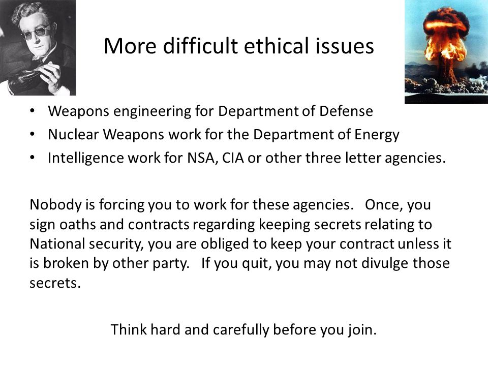 More difficult ethical issues