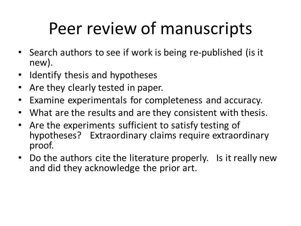 Peer review of manuscripts