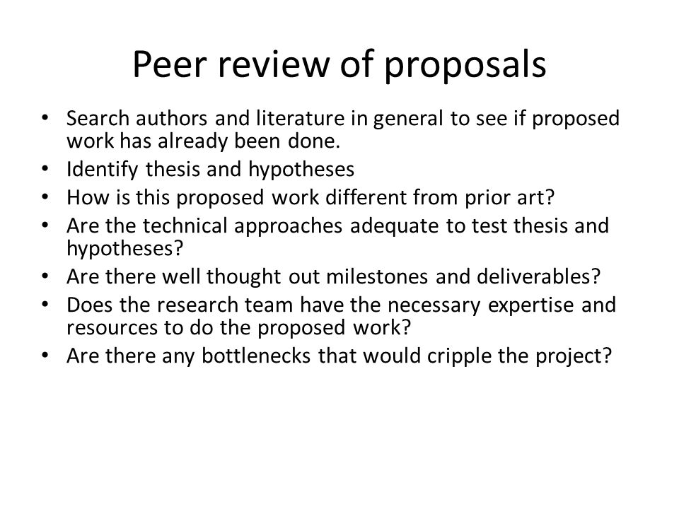 Peer review of proposals