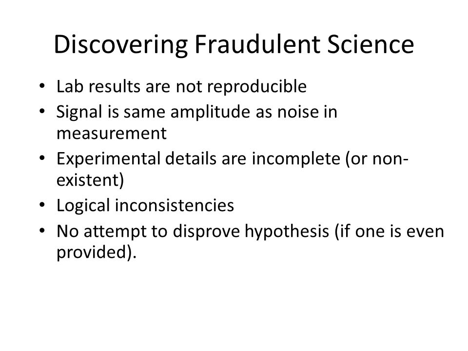 Discovering Fraudulent Science