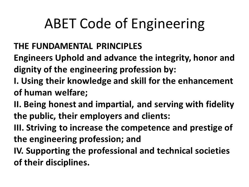 ABET Code of Engineering