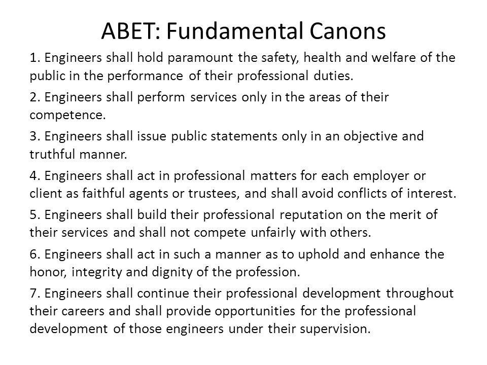 ABET: Fundamental Canons