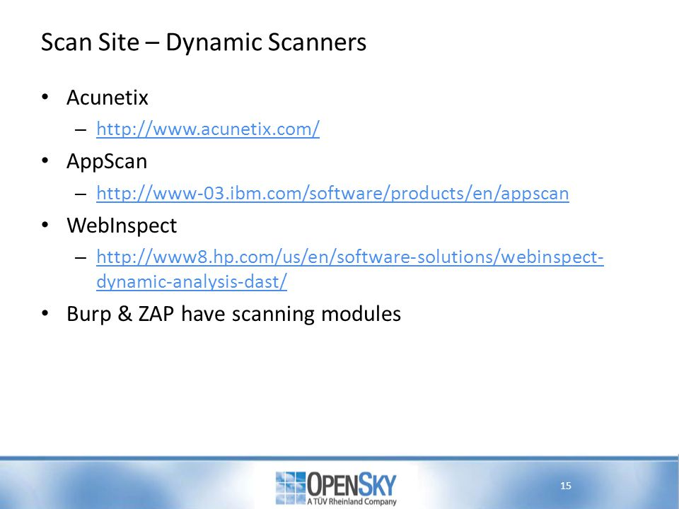 Scan Site – Dynamic Scanners