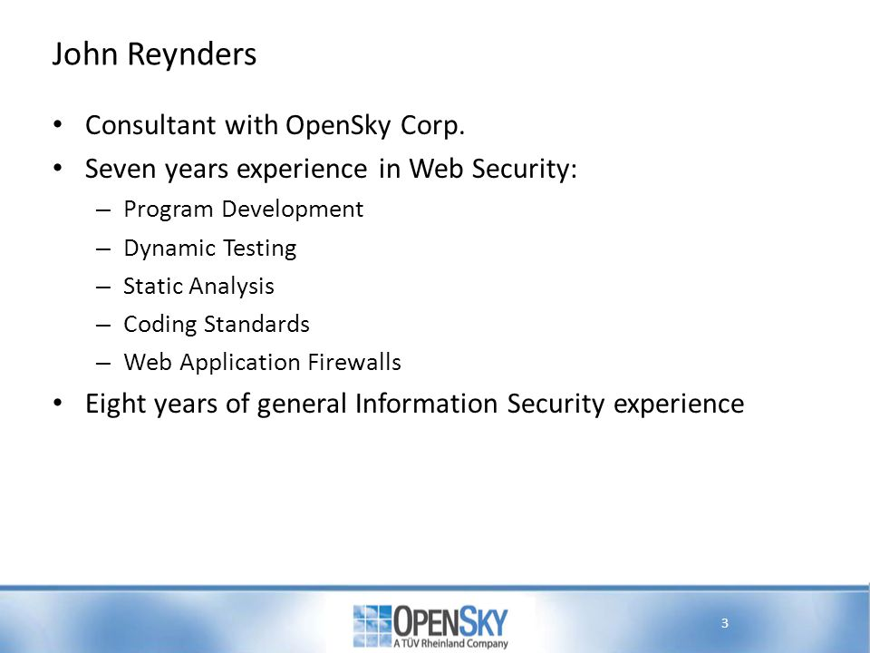 John Reynders Consultant with OpenSky Corp.