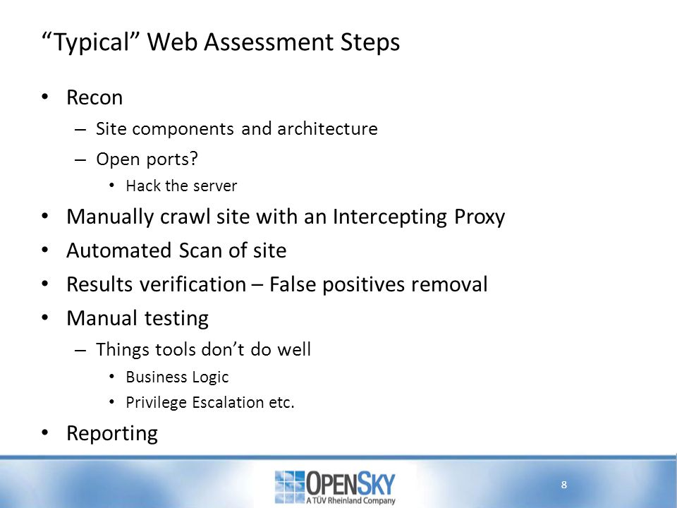 Typical Web Assessment Steps