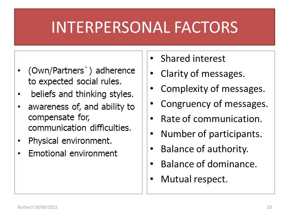 INTERPERSONAL FACTORS
