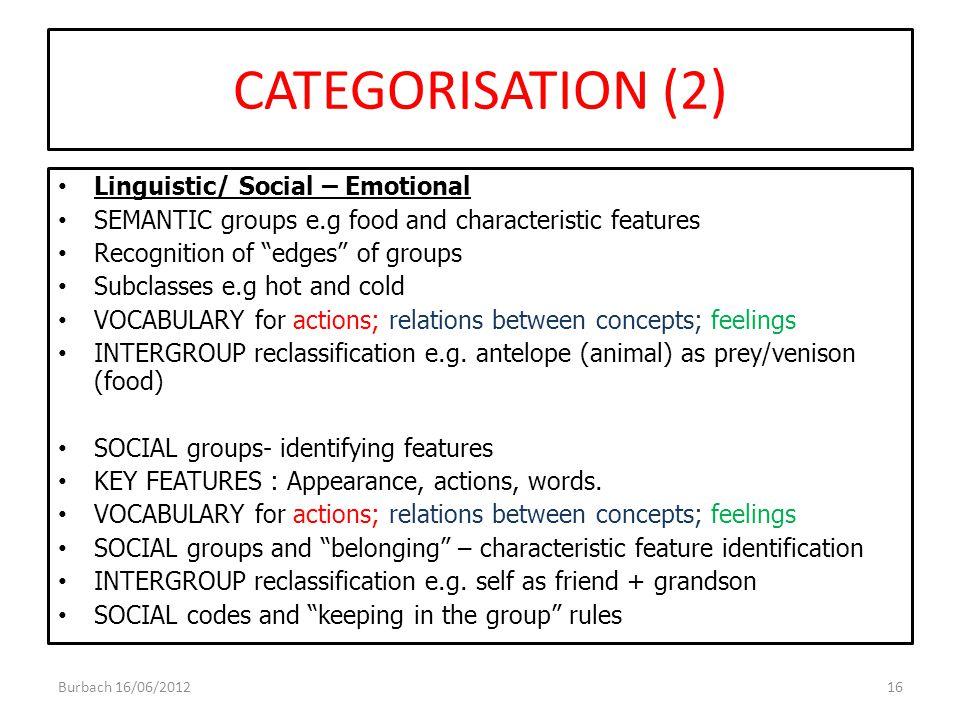 CATEGORISATION (2) Linguistic/ Social – Emotional