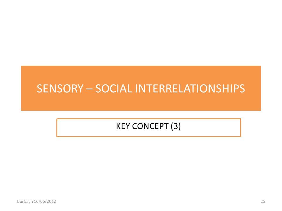 SENSORY – SOCIAL INTERRELATIONSHIPS