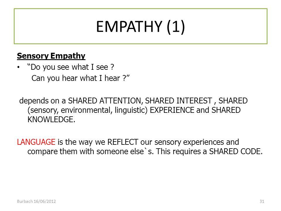 EMPATHY (1) Sensory Empathy Do you see what I see