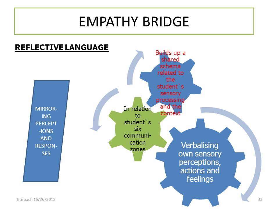 EMPATHY BRIDGE REFLECTIVE LANGUAGE. Verbalising own sensory perceptions, actions and feelings. In relation to student`s six communi-cation zones.